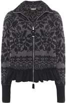 High Wool Tapis Intarsia Zip Cardigan