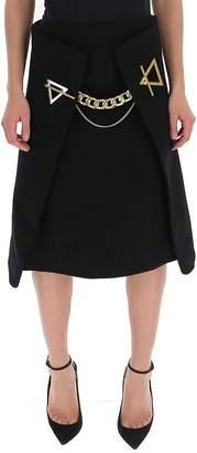 Bottega Veneta A-Line Chain Detail Skirt