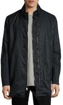 John Varvatos Linen Solid Stand Collar Jacket
