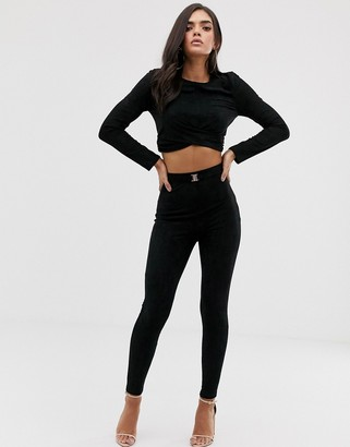 The Girlcode suedette tie skinny trouser in black