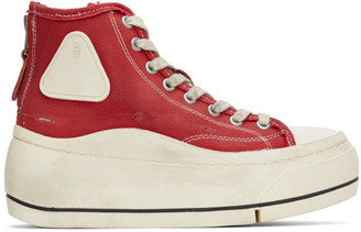 R 13 Red Distressed High-Top Sneakers