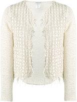 Lamberto Losani woven suede cardigan - women - Cotton/Suede/Polyamide - S