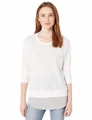Monrow Women's Linen Sweatshirt w/Rib Baseball Hem