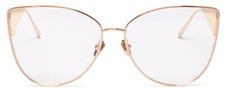 Linda Farrow Ida Cat-eye 18kt Rose Gold-plated Glasses - Gold