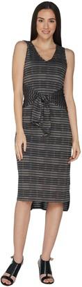 H by Halston Petite Knit Pattern Midi Dress with Waist Tie