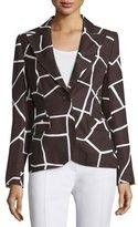 Escada One-Button Giraffe-Print Jacket, Mocca