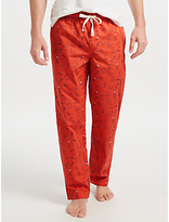 John Lewis Winter Hares Print Lounge Pants, Rust