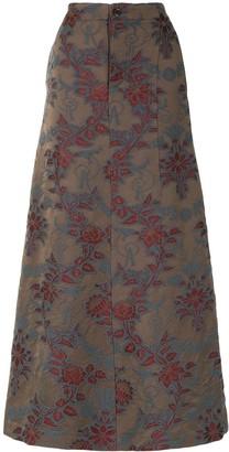 UMA WANG Floral-Jacquard Maxi Skirt