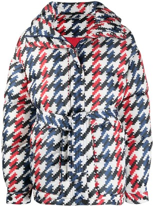 Perfect Moment Graphic Houndstooth Print Padded Jacket