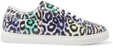 Just Cavalli Leopard-Print Leather Sneakers