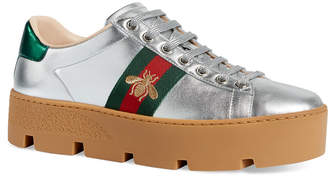 Gucci New Ace Metallic Leather Bee Thick-Sole Sneakers