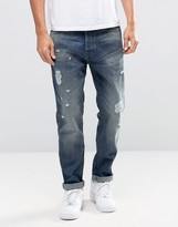 Jack and Jones Light Blue washed Jeans in Anti Fit with Rip Repair Detail