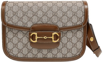 Gucci 1955 Horsebit Shoulder Bag in Beige Ebony & Brown Sugar | FWRD