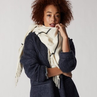 Love & Lore Love And Lore Super Soft Square Blanket Scarf Ivory Plaid