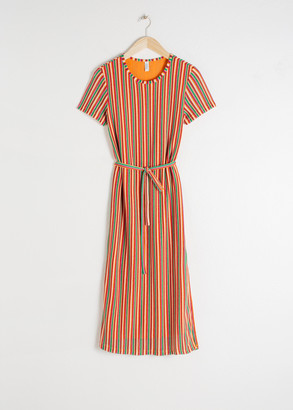 And other stories Belted Striped T-Shirt Dress