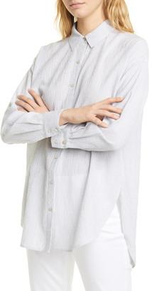 Eileen Fisher Stripe Tencel® Lyocell & Organic Cotton Shirt