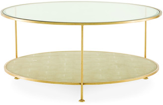 Century Furniture Adele Faux-Shagreen Glass Top Coffee Table