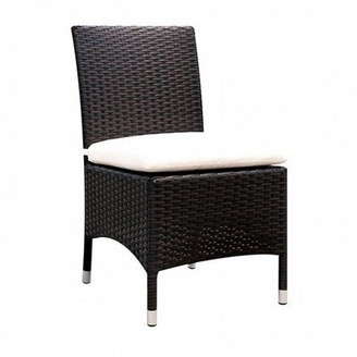 Bronx Ringling Patio Dining Chair with Cushion Ivy Color: Black/White