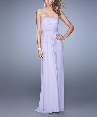 La Femme Women's Special Occasion Dresses Pale - Pale Purple Rhinestone-Belt Strapless Gown - Women