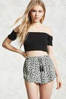 Forever 21 Floral Print Dolphin Hem Shorts