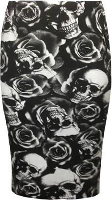 Generic New Women Printed Midi Bodycon Pencil Skirt Ladies High Waist Tube Skirt Fancy Dress (L/XL (UK 16-18)
