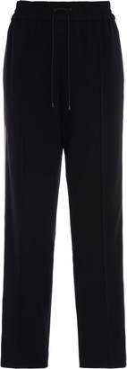 Kenzo Long Black Trousers With Colored Side Bands