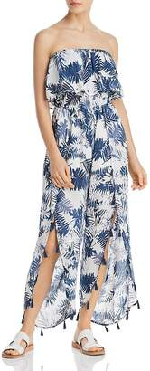 Surf.Gypsy Denim Palm Leaf Print Ruffled Jumper Swim Cover-Up