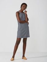 Frank + Oak Striped Cotton-Linen Tank Dress in Dark Saphire/White