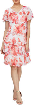 Floral Print Short-Sleeve Tiered Chiffon Dress