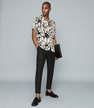 Reiss Griffin - Floral Printed Cuban Collar Shirt in White Print