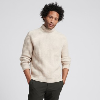 Naadam Wool Cashmere Ribbed Turtleneck Oatmeal