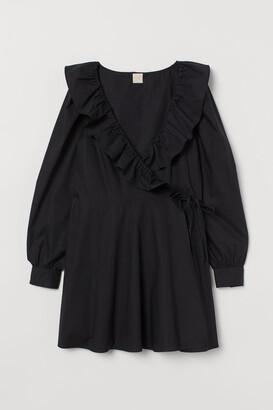 H&M Wrap Dress with Ruffles - Black