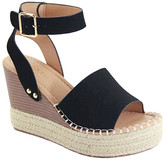 Bella Marie Women's Sandals BLACK - Black Stud-Accent Lady Wedge Sandal - Women