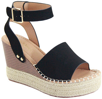 Bella Marie Women's Sandals BLACK - Black Stud-Accent Lady Wedge Sandal - Women
