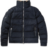 Corduroy-Trimmed Quilted Suede Down Jacket