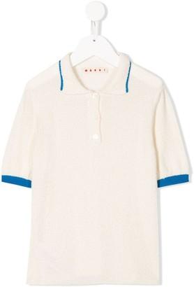 Marni Contrasting-Trim Knitted Polo Shirt