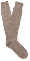 Loro Piana - Mélange Stretch-cashmere Over-the-calf Socks