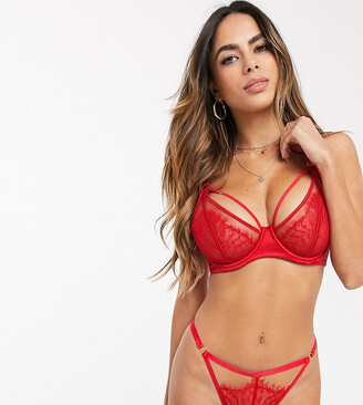 Wolfwhistle Wolf & Whistle Fuller Bust mesh and lace detail bra with strapping detail in red