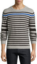 Diesel Striped Cotton-Blend Pullover Sweater, Dark Gray