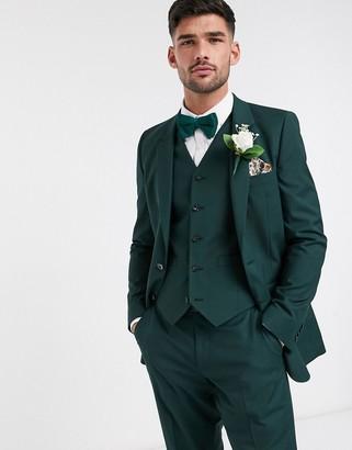 ASOS DESIGN wedding slim suit jacket in forest green