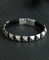 Nautilus Leather & Silvertone Stud Bracelet
