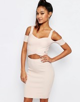 Lipsy Ariana Grande for Knit Wrapover Crop Top With Cold Shoulder