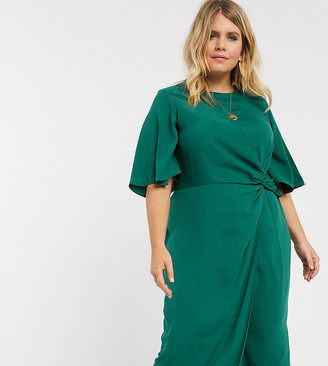 Asos DESIGN Curve twist front midi dress with angel sleeve