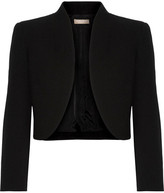 Michael Kors Cropped Wool-blend Crepe Jacket - Black