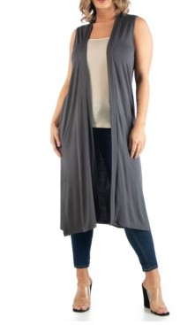 24seven Comfort Apparel Women's Plus Size Long Cardigan Vest