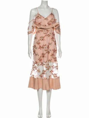 Alice McCall Floral Print Midi Length Dress Pink