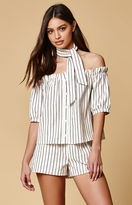 Honey Punch Stripe Off-The-Shoulder Top