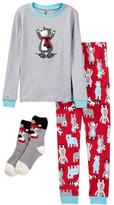 Petit Lem Cross Country Bear Pajama Set & Socks (Toddler & Little Boys)