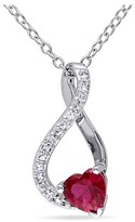 Allura 5.9 CT. T.W. Ruby and 2.16 CT. T.W. White Sapphire with Diamond Leverback Earrings in Sterling Silver