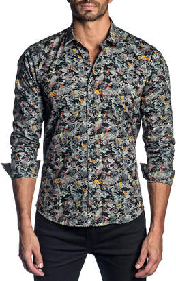 Jared Lang Men's Semi-Fitted Camouflage & Bicycle-Print Sport Shirt